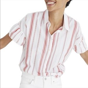 Madewell White and Red Striped Button Down Tee M